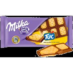 Шоколад Milka с солёным крекером TUC, 87 г