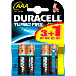 DURACELL батарейки ТУРБО AAА 3+1