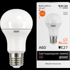 Лампа Gauss. Светодиодные лампы LED A60 15W E27 2700K. Модель — 23215.