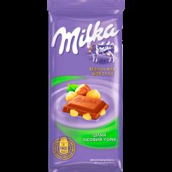 Молочный шоколад Milka с цельным фундуком флоу-пак, 90 г