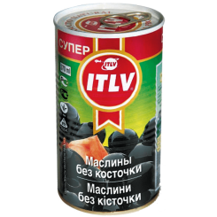 Оливки ITLV Супер черные без косточки 370 мл