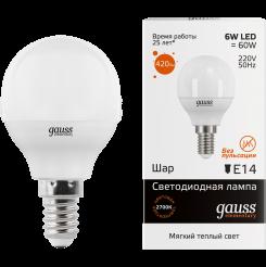 Лампа Gauss. Светодиодные лампы LED Шар 6W E14 2700K. Модель — 53116.