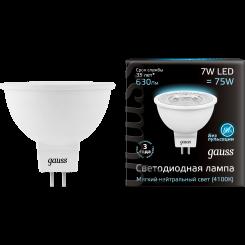 Лампа Gauss. Светодиодные лампы LED MR16 7W GU5.3 4100K. Модель — 101505207.