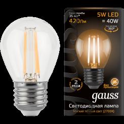 Лампа Gauss. Светодиодные лампы Filament Шар 5W E27 2700K. Модель — 105802105.
