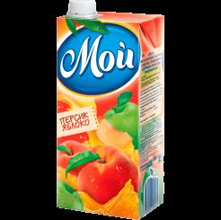 Сок нектар Мой персико-яблочный с мякотью для детского питания 950 мл