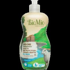 BioMio. Bio-Care экологичное средство для мытья посуды (в том числе детской), овощей и фруктов биомио, c экстрактом хлопка и ионами серебра, концентрат, без запаха 450 мл