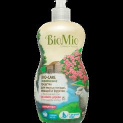 BioMio. Bio-Care экологичное средство для мытья посуды (в том числе детской), овощей и фруктов биомио, c эфирным маслом розового дерева, экстрактом хлопка и ионами серебра, концентрат  450 мл