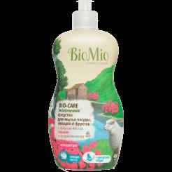 BioMio. Bio-Care экологичное средство для мытья посуды (в том числе детской), овощей и фруктов биомио, c Герани, экстрактом хлопка и ионами серебра, концентрат 450 мл