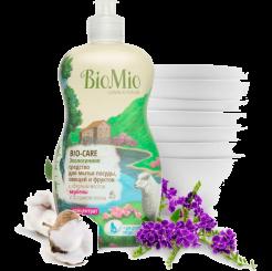 BioMio. Bio-Care экологичное средство для мытья посуды (в том числе детской), овощей и фруктов биомио, c Вербены, экстрактом хлопка и ионами серебра, концентрат 450 мл