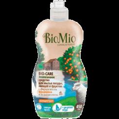 BioMio. Bio-Care экологичное средство для мытья посуды (в том числе детской), овощей и фруктов биомио, c мандарином, экстрактом хлопка и ионами серебра, концентрат 450 мл
