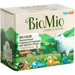 Biomio. Bio-Color экологичный стиральный порошок для цветного белья с экстрактом хлопка биомио, концентрат, без запаха 1.5 кг