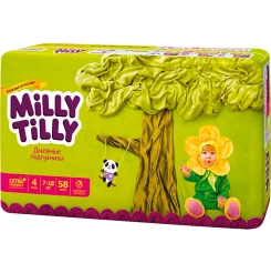 Детские дневные подгузники Milly Tilly,  Макси 4 (7-18 кг), 58 шт.