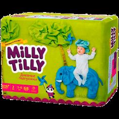 Детские дневные подгузники Milly Tilly,  Мини 2 (3-6 кг), 68 шт.