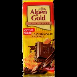 Шоколад молочный Alpen Gold (Альпен гольд) с соленым арахисом и крекером, 90 г