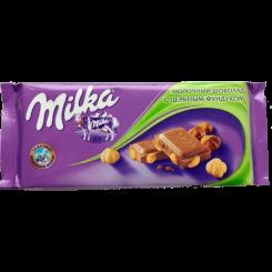 Молочный шоколад Milka (Милка) с цельным фундуком флоу-пак, 100 г