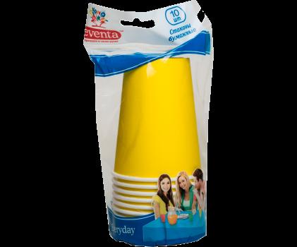 Бумажные стаканы EVENTA желтые 250 мл, 10 шт.