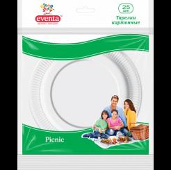 Бумажные тарелки EVENTA диаметром 23 см белые, 25 шт.